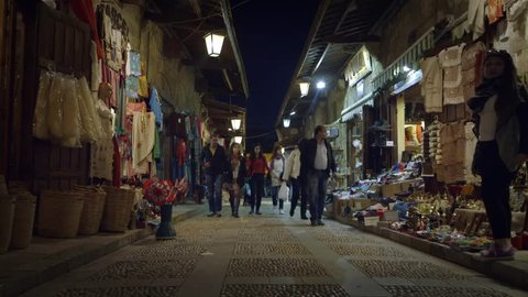 Jbeil, Lebanon - March 2014. People walking in the historical street of Jbeil city, Lebanon.