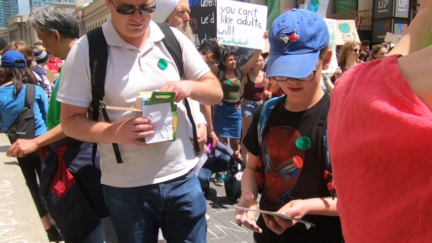 Toronto, Ontario, Canada May 2019 Climate change action protest with college and university students #1030330691