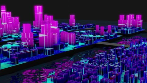 3d animation of cyberpunk futuristic city concept design on water with colorful glowing buildings and skyscrapers . Aerial view with black background.