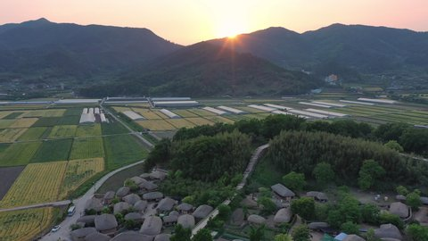 Aerial view of  Nagan Eupseong village And the sunset in South Korea.