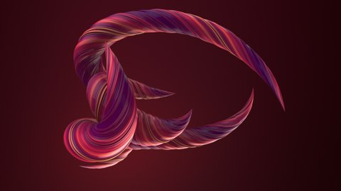 Pink colored twisted shapes. Computer generated abstract geometric 3D render loop animation. 4K, Ultra HD resolution.