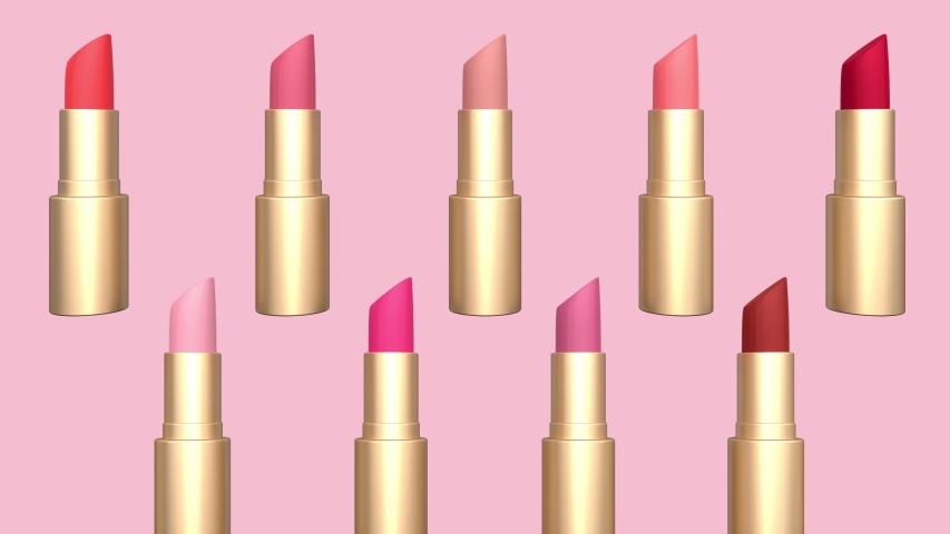 Lipstick set on pink background | Shutterstock HD Video #1030549151