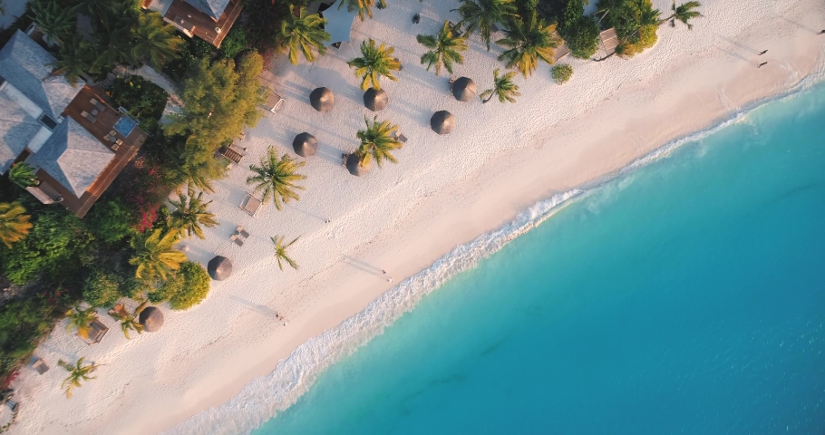 Aerial view of sea waves, umbrellas, green palms on the sandy beach at sunset. Summer in Zanzibar, Africa. Tropical landscape with palm trees, people, parasols, sand, blue water. Top view from air   Shutterstock HD Video #1030586501