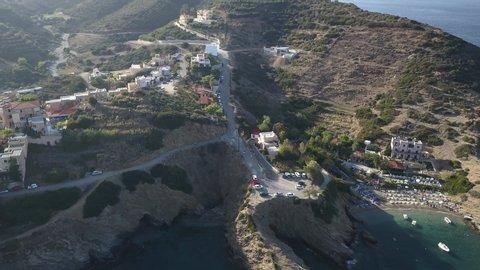Aerial footage of a small beach in Bali village. Crete, Greece