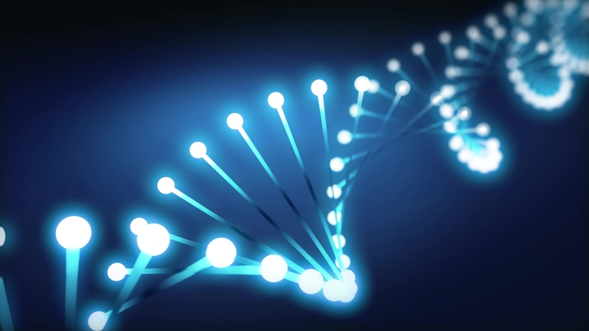 A spinning DNA spiral glowing in the dark. 3D-animation | Shutterstock HD Video #1030671551