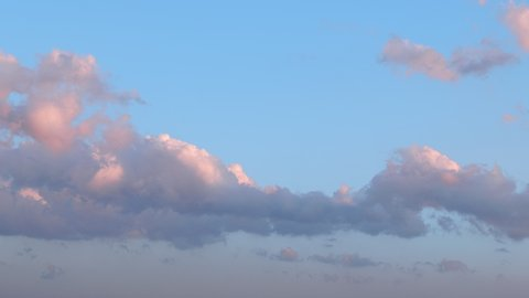 Time lapse of cumulus clouds over blue sky, 6K resolution video background