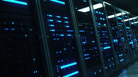 Powerful servers sit behind glass panels in a server room of a data center or ISP as the camera moves at an angled dolly shot, 4K high quality animation