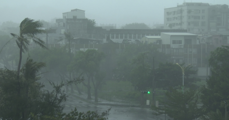 Strong Wind And Heavy Rain Pour Down On City As Hurricane Hits - Megi