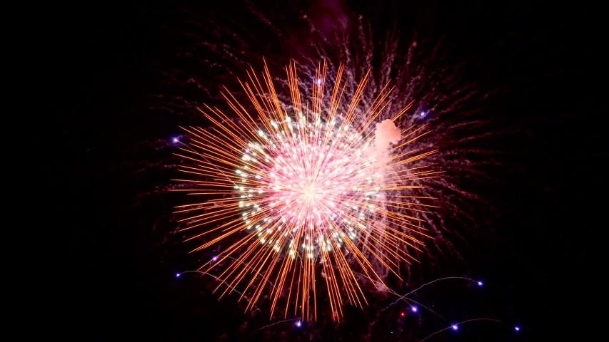 The fireworks in the night sky | Shutterstock HD Video #1030775621
