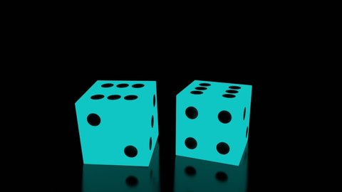 Glowing dice roll towards camera, land on pair of sixes