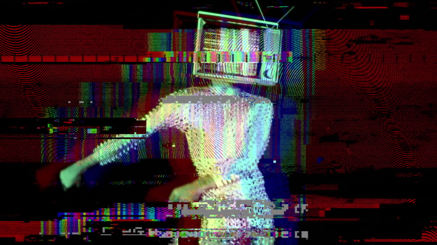 Mr tv head cool man in a silver costume dancing the floss dance with a television as a head. the tv is has video static and noise playing on it. | Shutterstock HD Video #1030792151