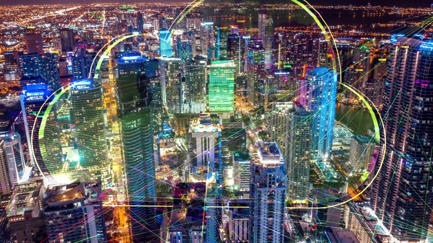 Night city hyperlapse Aerial city connected through 5G. Cloud computing  icons technology concept, Wireless network, mobile technology and data communication, artificial intelligence, Ai, internet, 4K | Shutterstock HD Video #1030891661