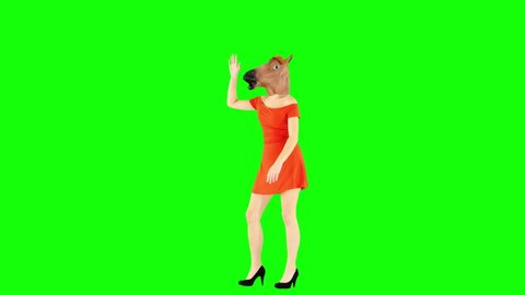 Goofy Girl Dancing in Sexy Dress and Horse Head Mask Green Screen