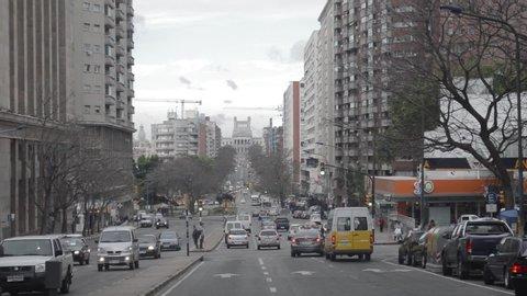 Montevideo, Montevideo / Uruguay - 12 08 2018: Street of Montevideo, Uruguay. Circa December 8, 2018.