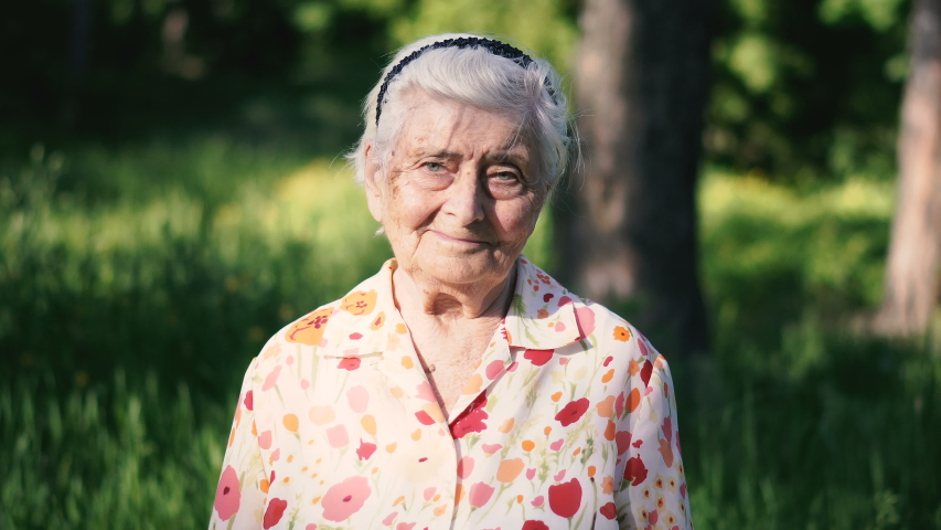 Grandmother. Portrait of a hundred year old grandmother | Shutterstock HD Video #1031110871