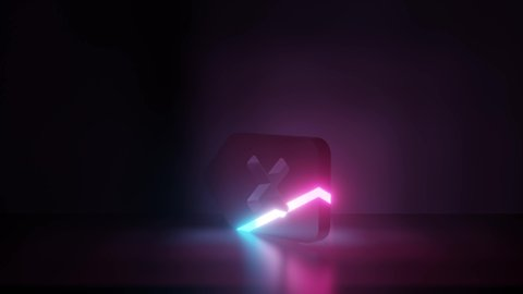 3d rendering glowing blue purple neon laser light symbol of backspace button woth cross in empty space corner seamless animation