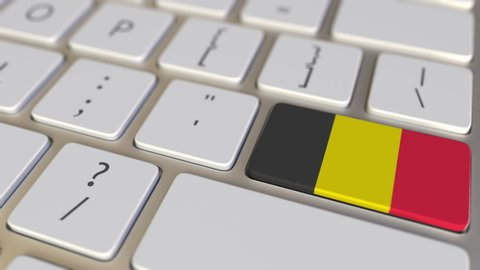 Key with flag of Belgium on the keyboard switches to key with flag of Germany, translation or relocation related animation
