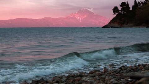 Beautiful sunset on Greece coast,Athos mount