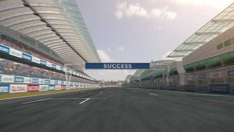 POV shot of a formula one race car driving along the homestretch over the finish line - realistic high quality 3d animation - my own car design - no copyright/trademark infringement