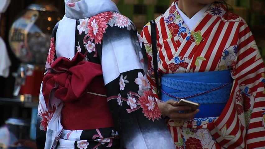 Kyoto_May 13, 2015: Two women in kimono around Higashiyama in Kyoto, Japan