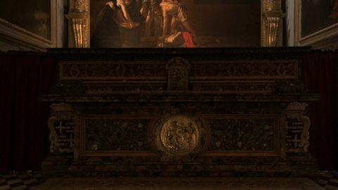 VALLETTA / MALTA - APRIL 6, 2019: Famous Caravaggio painting in St John's cathedral in Valletta, Malta