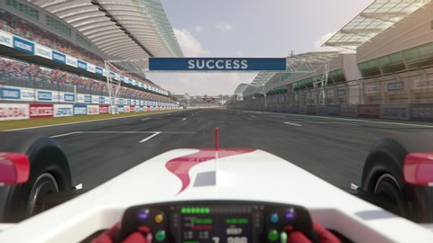 POV shot of a generic formula one race car driving along the homestretch over the finish line - center view - realistic high quality 3d animation