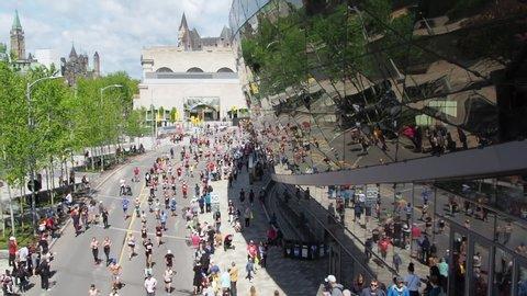 Ottawa, Ontario, Canada - May 26 2019: Runners in Ottawa Race Weekend (Ottawa Marathon) in downtown of Ottawa, Capital of Canada
