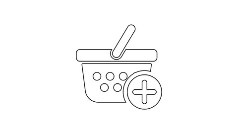 Black Add to Shopping basket line icon on white background. Online buying concept. Delivery service sign. Supermarket basket symbol. 4K Video motion graphic animation