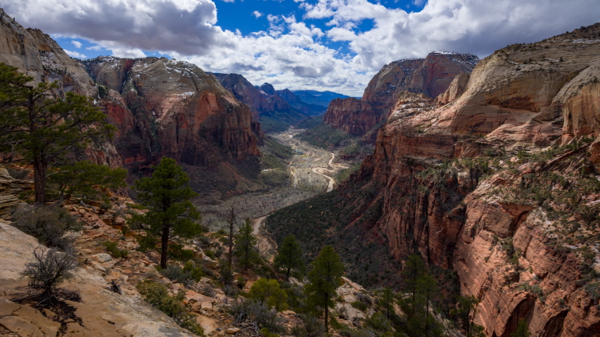 4K Time lapse of Zion Canyon from the top of Angels Landing, Zion ,Utah, USA | Shutterstock HD Video #1031512211