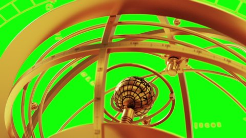 Armillary Sphere And Zodiac Signs On Green Screen. 3D Animation.