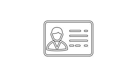 Black Identification badge line line icon on white background. It can be used for presentation, identity of the company, advertising. 4K Video motion graphic animation
