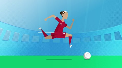 England female world cup soccer player running with a ball in a stadium. Loopable clip in 4K with alpha channel to use player on different backgrounds