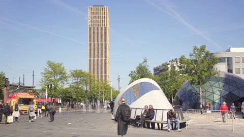EINDHOVEN, NETHERLANDS - CIRCA 2019: 18 Septemberplein, a big square and pedestrian zone in Eindhoven city center