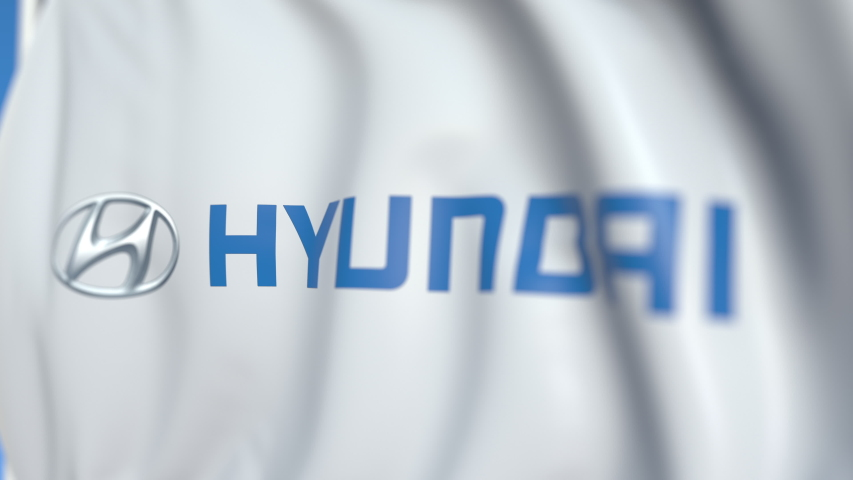 Waving flag with Hyundai Motor Company logo, close-up. Editorial loopable 3D animation | Shutterstock HD Video #1031715761