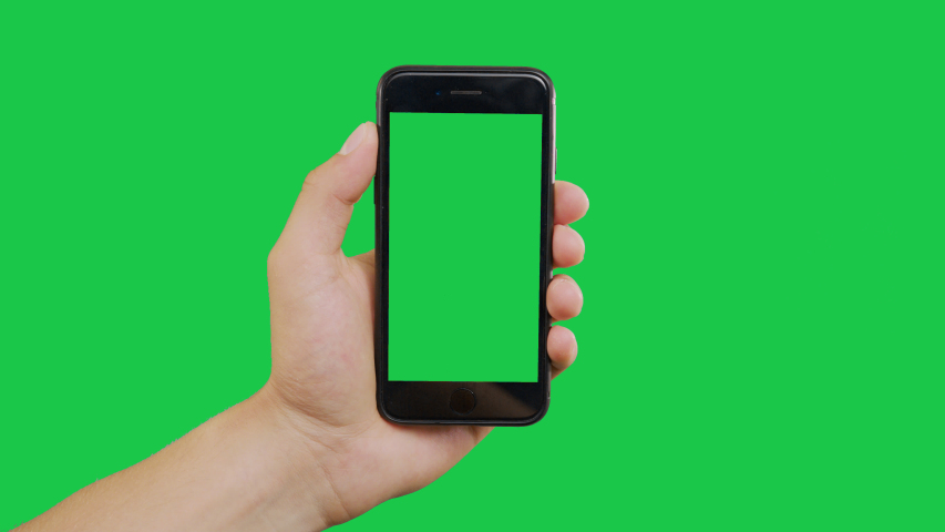 New York, USA - June 20, 2019: Finger Swipes Buttom Left Smartphone Green Screen. Pointing Finger Clicking On Phone Screen with Green Background. Use in any project that depicts finger, gesture | Shutterstock HD Video #1031905121
