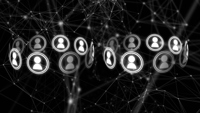 Digital animation of two sets of ten vector icons of people moving in a circle, and a series of moving network lines and digital connections on a black background | Shutterstock HD Video #1031920571