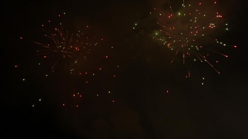 Castle of fireworks in a celebration - loop   Shutterstock HD Video #1032037121