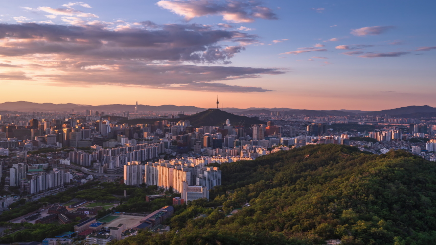 Time lapse Seoul city Skyline at South korea  | Shutterstock HD Video #1032095891
