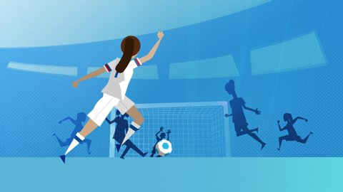 USA female soccer player kicking and scoring a goal in a stadium. 4K vector animated clip.