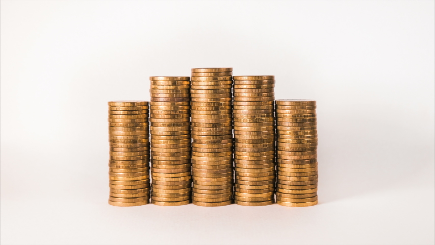 Isolated increasing gold coin lots show wealth and income   Shutterstock HD Video #1032121631