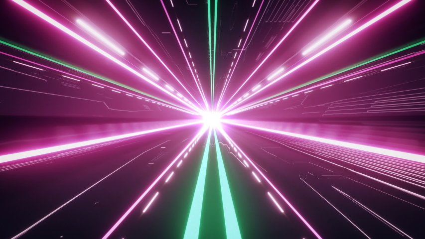 Abstract technology tunnel. Glowing pink and green neon stripes. Station space. Motion geometry background. 4k | Shutterstock HD Video #1032155081