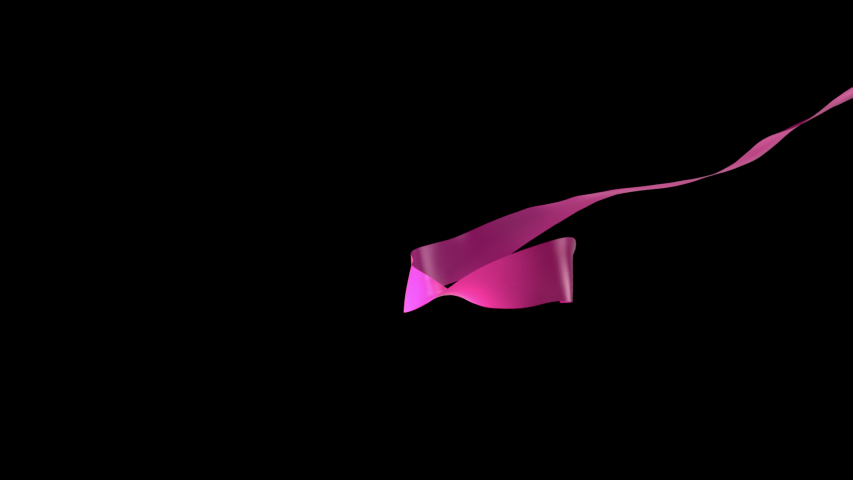 Pink satin Ribbon floating in front of the camera, ribbon 3d animation 3d rendering with alpha   Shutterstock HD Video #1032186641