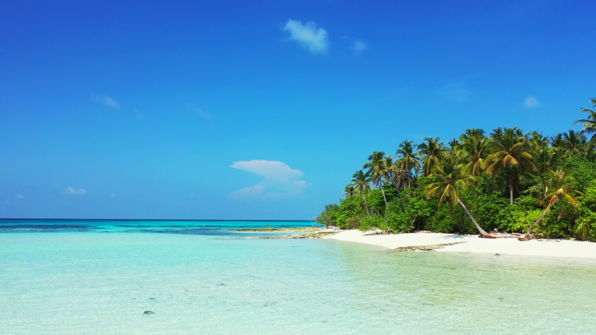 Maldives tropical island and blue sea with drone aerial flying view on a beach with white sand and beautiful sky background | Shutterstock HD Video #1032198071