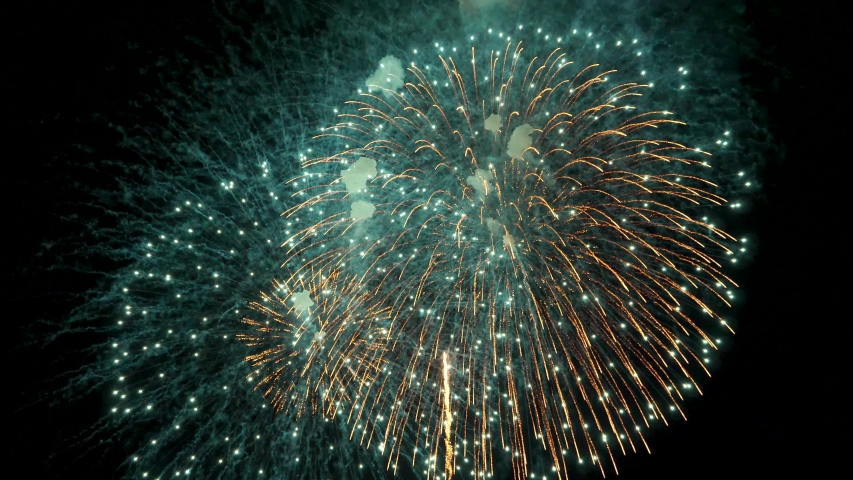 The fireworks in the night sky | Shutterstock HD Video #1032318311