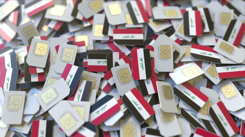 Multiple SIM cards with flag of Iraq. Iraqi mobile telecommunications conceptual 3D animation | Shutterstock HD Video #1032335261