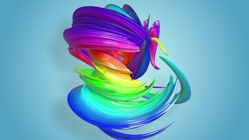 Multi-color ribbon is twisted and moves in a circle. Rainbow colored ribbon LGBT symbol animated in motion design with copy space. Looped smooth animation in 4K. Ver 31 | Shutterstock HD Video #1032343751