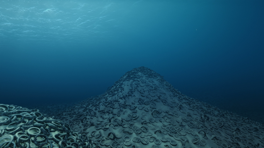 Oceans Pollution - Tires Cemetary Underwater   Shutterstock HD Video #1032346451