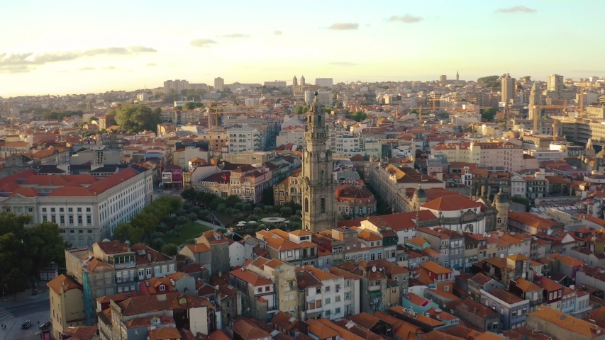 The city of Porto in Portugal, Europe, 4k aerial skyline drone view #1032536381