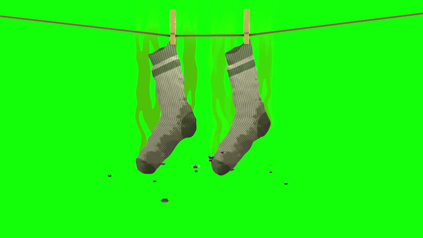 Smelly socks. 3D animation in cartoon style. Green screen, loopable.