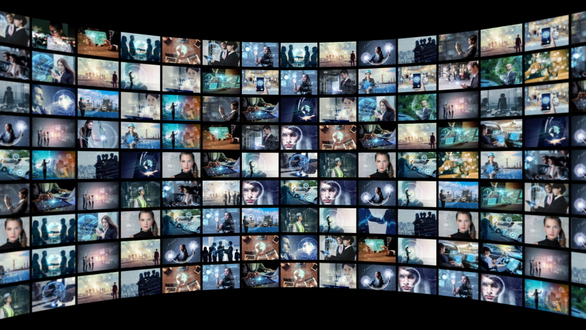 A lot of pictures in cyberspace. Social media. Streaming video. | Shutterstock HD Video #1032649451